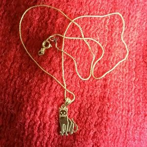 14 k gold cat pendant & chain